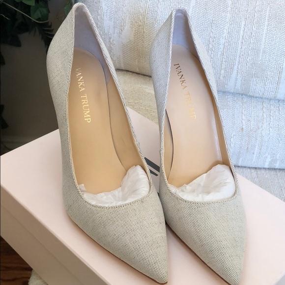 0965b7248cf Ivanka Trump Shoes - Ivanka Trump beige linen heels size 7.5 new